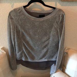 Greylin Grey Sweater w/back detail. Sz S